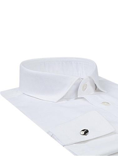 Tween Slim Fit Desenli Smokin Gömlek Beyaz